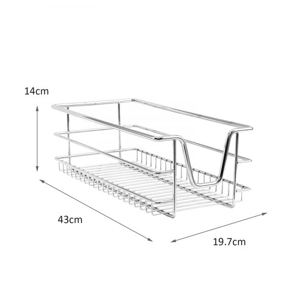 Collection 3 Kitchen Wire Baskets Pull Out Storage Drawer Slide Out Medium