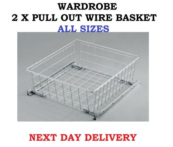 Explore Wardrobe Pull Out Wire Basket Drawer Fitting Accessories W Medium