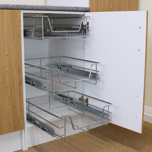 Fresh 3 Pull Out Kitchen Wire Baskets Slide Out Storage Cupboard Medium