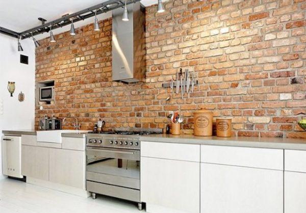 Inspirational 20  Modern Exposed Brick Wall Kitchen Interior Designs Medium