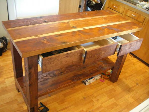 Kitchen Reclaimed Wood Kitchen Island With Storage Medium