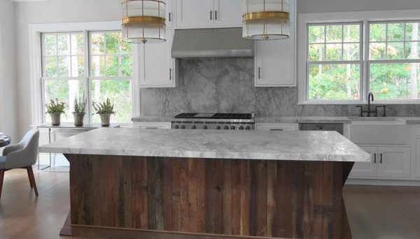 Kitchen With Salvaged Wood Island Contemporary Kitchen Medium