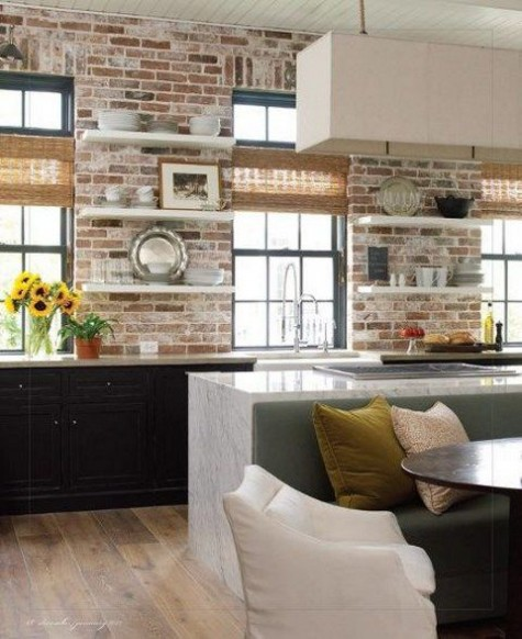Looking 67 Stylish Kitchens With A Brick Wallcomfydwellingcom Medium