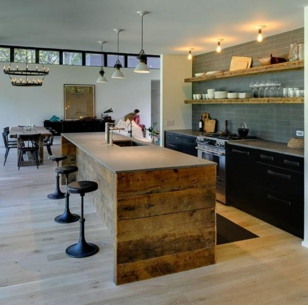 Reclaimed Wood Kitchen Island Ideas With Black Iron Bar Stool Medium