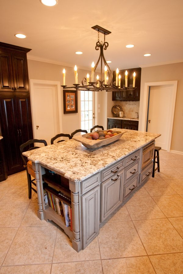 Rustic Chandelier Over White Marble Top Kitchen Island Medium