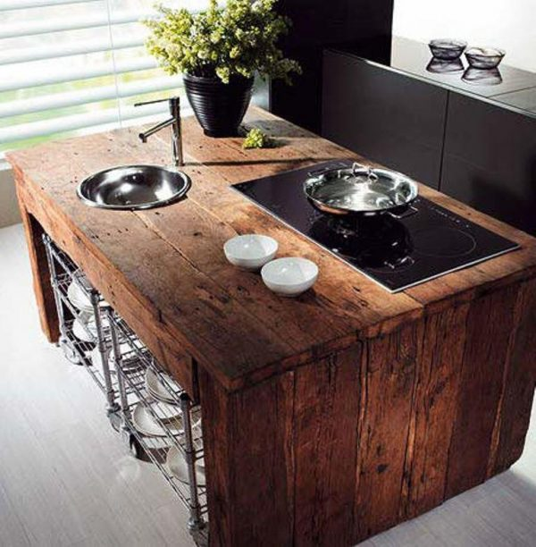 Rustic Reclaimed Wood Kitchen Island Ideas Rilane Medium