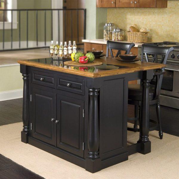 Shop Home Styles Black Midcentury Kitchen Islands 2Stools Medium