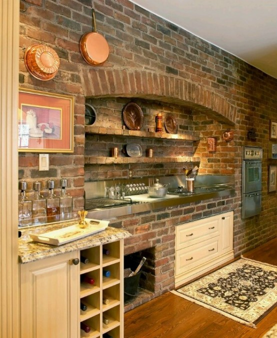 Simply 74 Stylish Kitchens With Brick Walls And Ceilings Digsdigs Medium