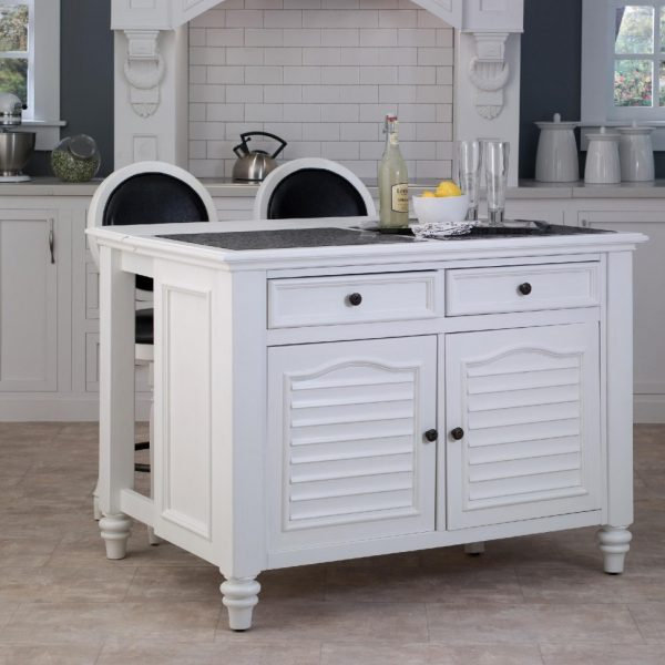Stunning White Rolling Kitchen Island For Old Fashioned Kitchen With Tile Backsplash And Classic Range Hood Medium