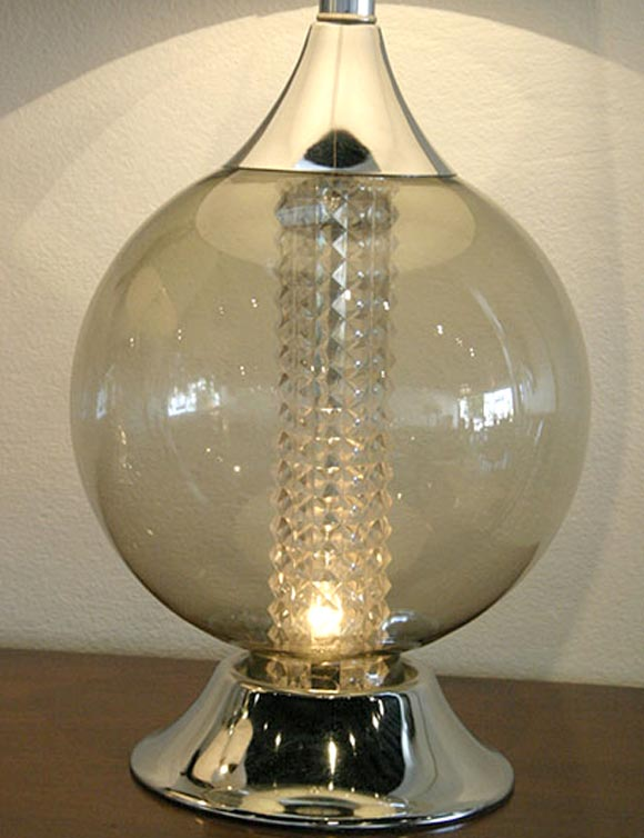 Fresh Pair Smoke Crystal Sphere Lamps At 1stdibs Medium