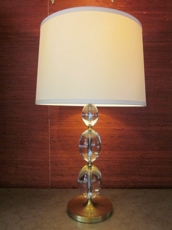 Looking Four Italian Solid Crystal Sphere Table Lamps For Sale At Medium