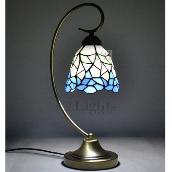 Top Wrought Iron Fixture And Stained Glass Tiffany Bedside Lamps Medium