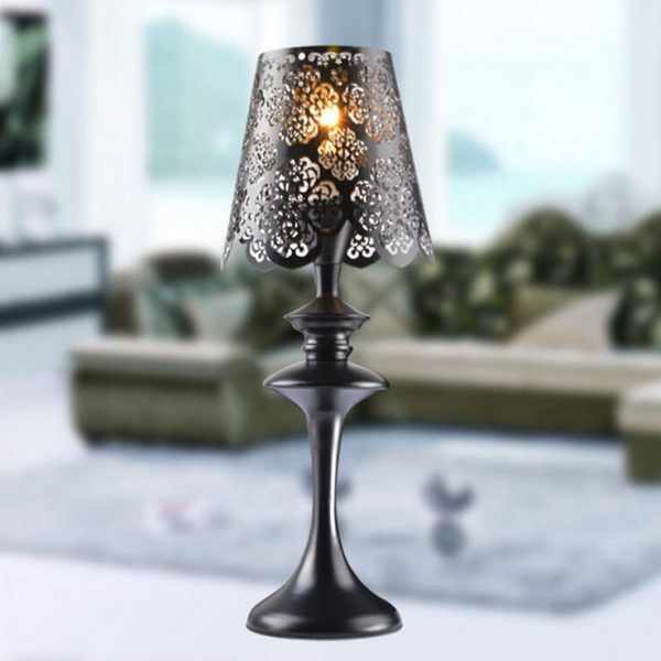 We Share European Wrought Iron Table Lamp Black Lace Lampshade Medium