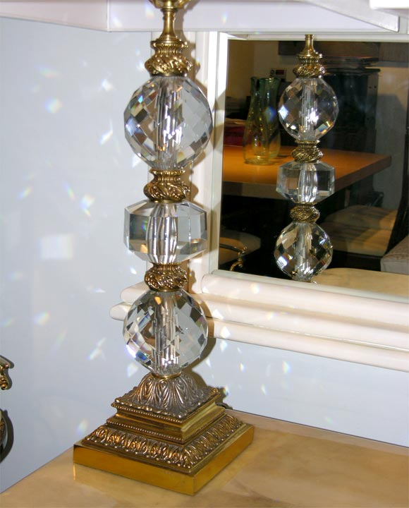 We Share Pair Of Table Lamps In Brass With Faceted Crystal Spheres Medium