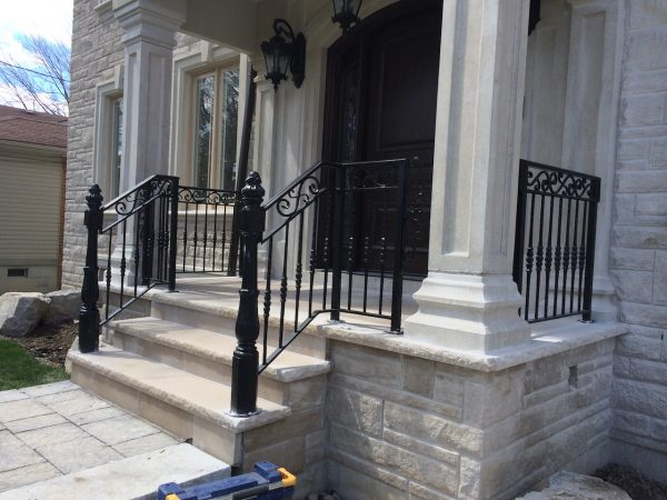 Best Wrought Iron Handrails Stairs Railings Curving Away From Medium