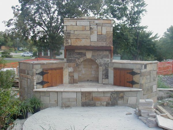 Browse Outdoor Stone Fireplace Warming Up Exterior Space Traba Medium