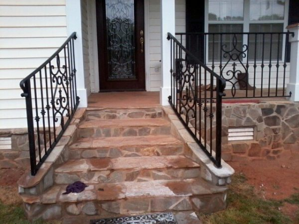 Clever Exterior Wrought Iron Handrail   Railing Mediterranean Medium