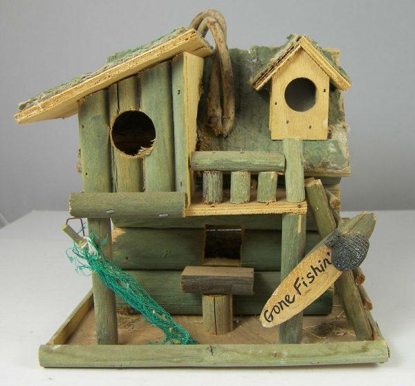 Creative Fishing Cabin Decorative Bird House 8 X 8 X 7 Very Rustic Medium