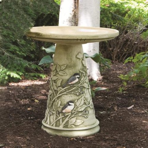 inspiration burley clay chickadee birdbath and pedestal stand medium