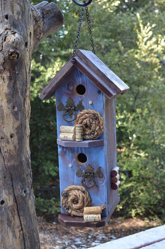 Inspiration Condo Birdhouse Handmade Rustic Garden Decorated Bird House Medium
