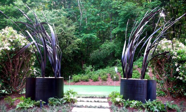 Inspirational Hand Made Steel Garden Sculpture Leaves And Grass By Medium