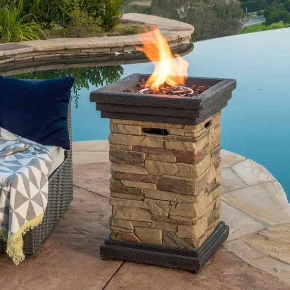 Patio Fire Pit Table Outdoor Gas Fireplace Bowl Propane Medium