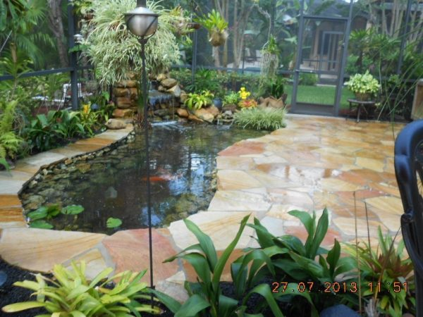 Popular Koi Pond And Flagstone Patio  72 Flagstone Patio Pond Medium