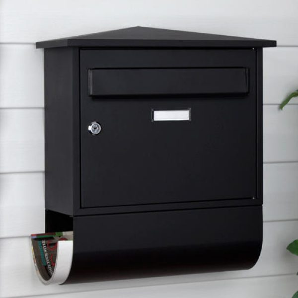 Style Castle Locking Wallmount Mailbox With Newspaper Roll Medium