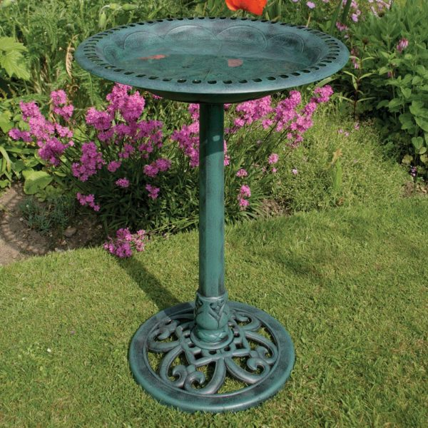 Top Amazing Green Painted Copper Bird Bath Design With Medium