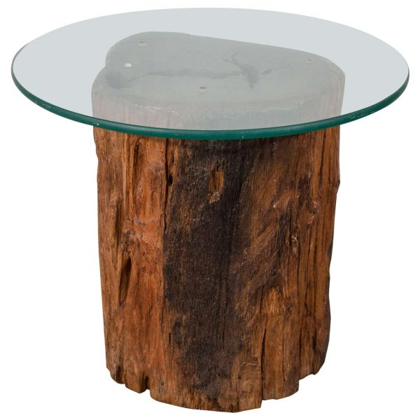 Collection Antique Petrified Tree Trunk Side Table With Glass Top At Medium