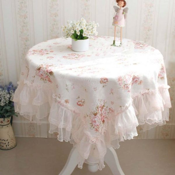 Fresh Shabby Chic Table Clothsvictorian Rose Ruffled Medium