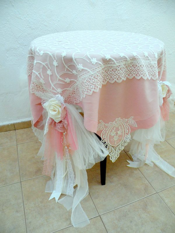 Fresh Shabby Chic Wedding Tablecloth  Dusty Pale Pink Ivory Linen
