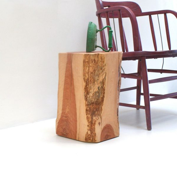 Fresh Tree Stump End Table Squared Redhead Medium