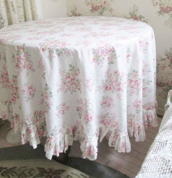 Inspiration Shabby Chic Pink Rose Table Cloth Rachel Ashwell Tablecloth Medium