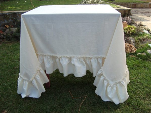 Search Cotton Ruffled Tablecloth Wedding Shabby Chic Tablecloth Medium