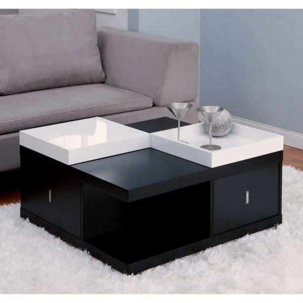 Simply Contemporary Coffee Table Wood Modern Storage Drawer Medium