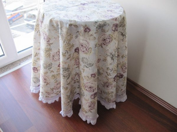 Simply Shabby Chic Floral Round Tablecloth Duck Linen By Nurdanceyiz Medium