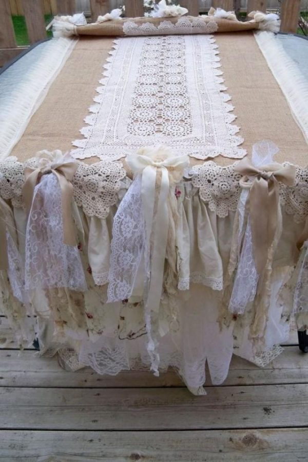 We Share Burlap Ruffled Hand Made Table Runner Ooak Shabby Chic Medium