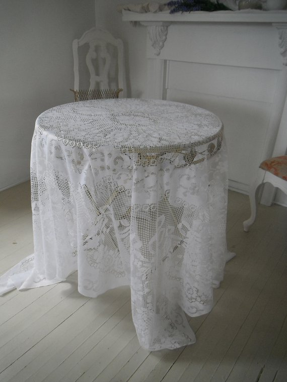 We Share Shabby Chic White Lace Tablecloth White Lacey Tablecloth Medium