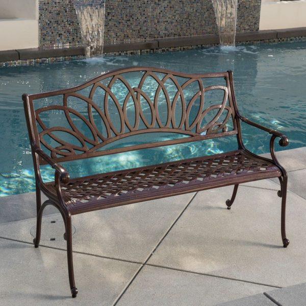 Best Outdoor Patio Furniture Brown Cast Aluminum Garden Bench Medium