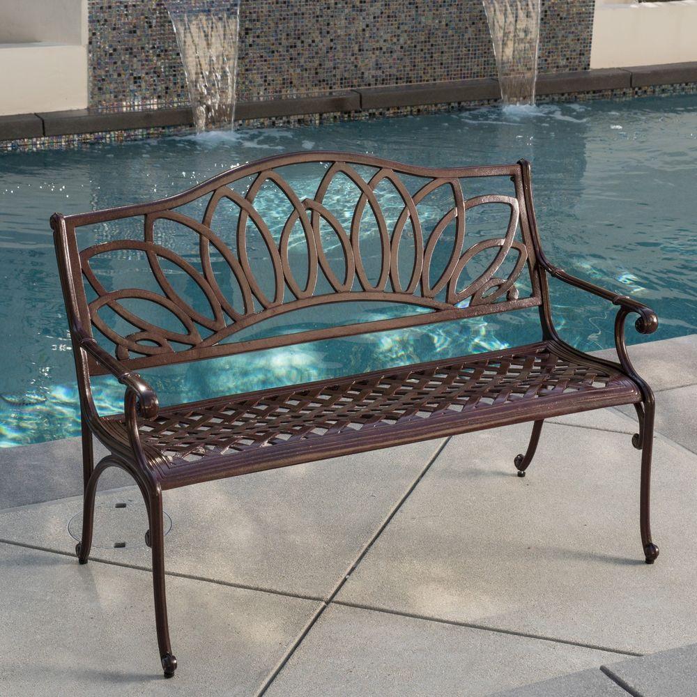 best outdoor patio furniture brown cast aluminum garden bench