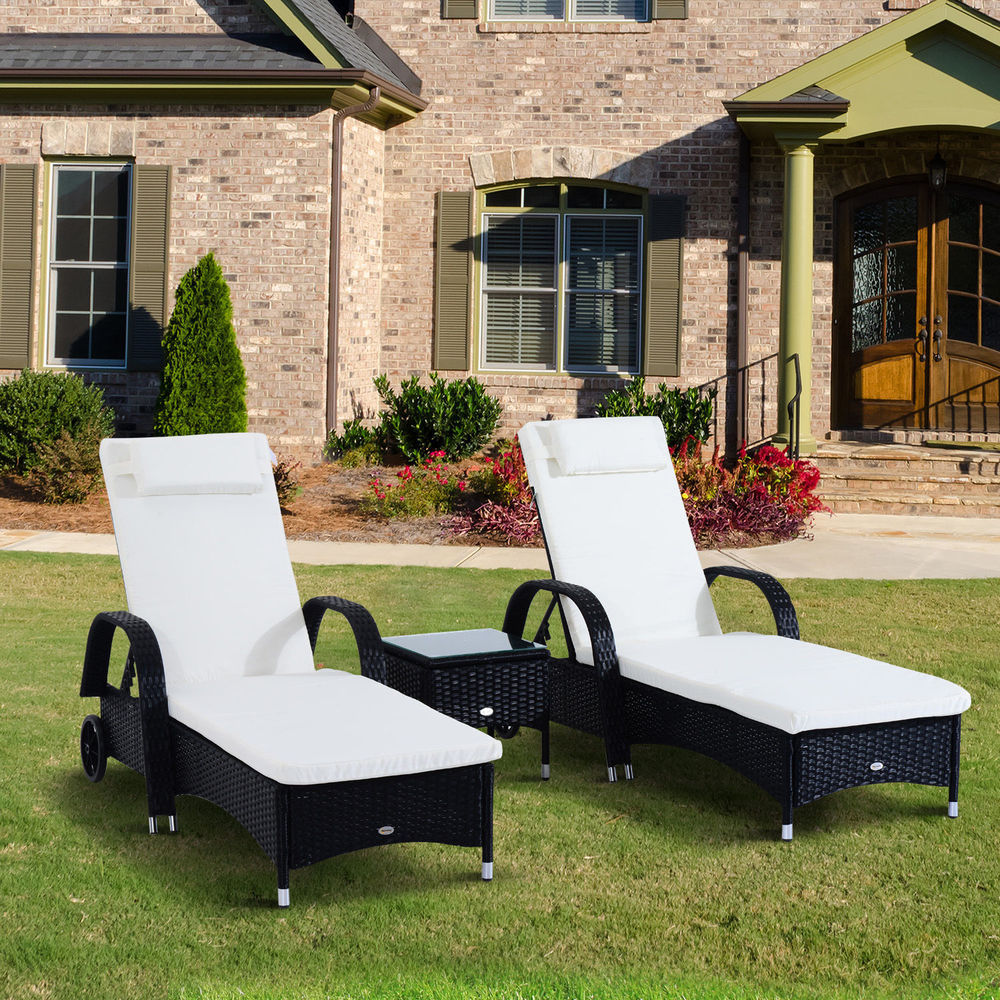 best outsunny 3pc rattan sun lounger table patio recliner day