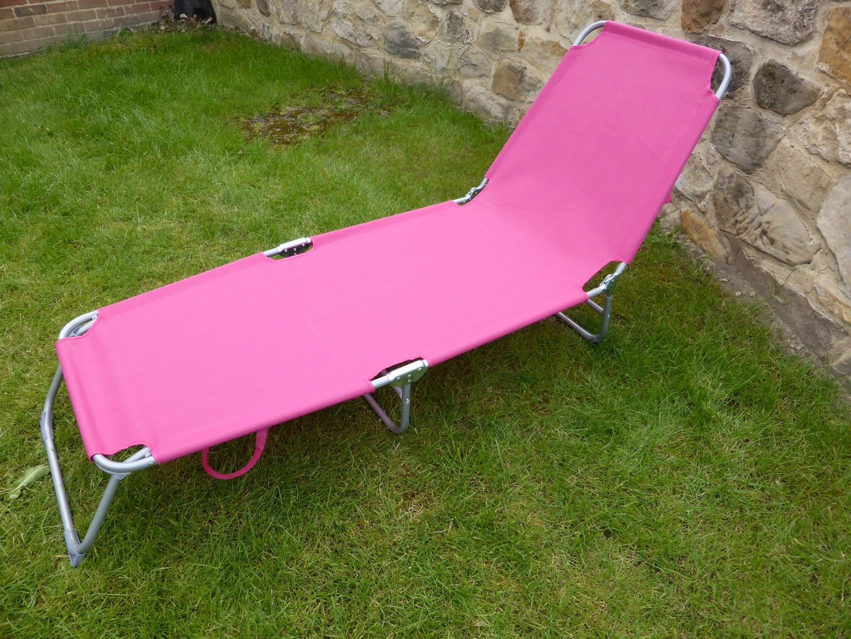 bore pink flat folding multi position garden sun bed lounger