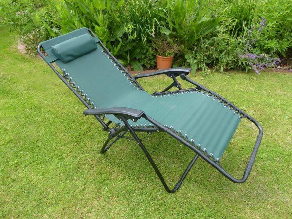 Browse Garden Chairs Green Sun Lounger Recliner Chair Medium