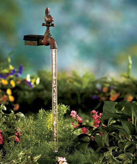 Browse Outdoor Solar Water Faucet Garden Stake Illusion Magic Medium