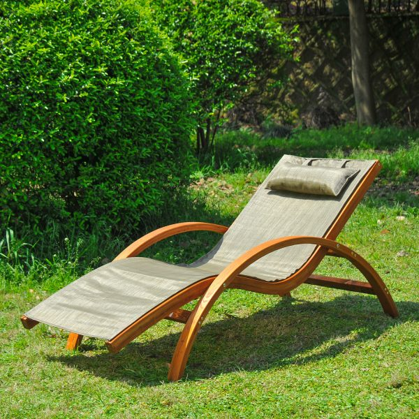 Browse Wooden Patio Chaise Lounge Chair Outdoor Furniture Pool Medium