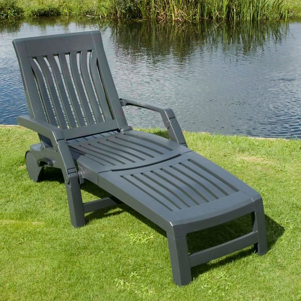 Collection Nettuno Sun Lounger In Anthracite Plastic Garden Sun Bed Medium