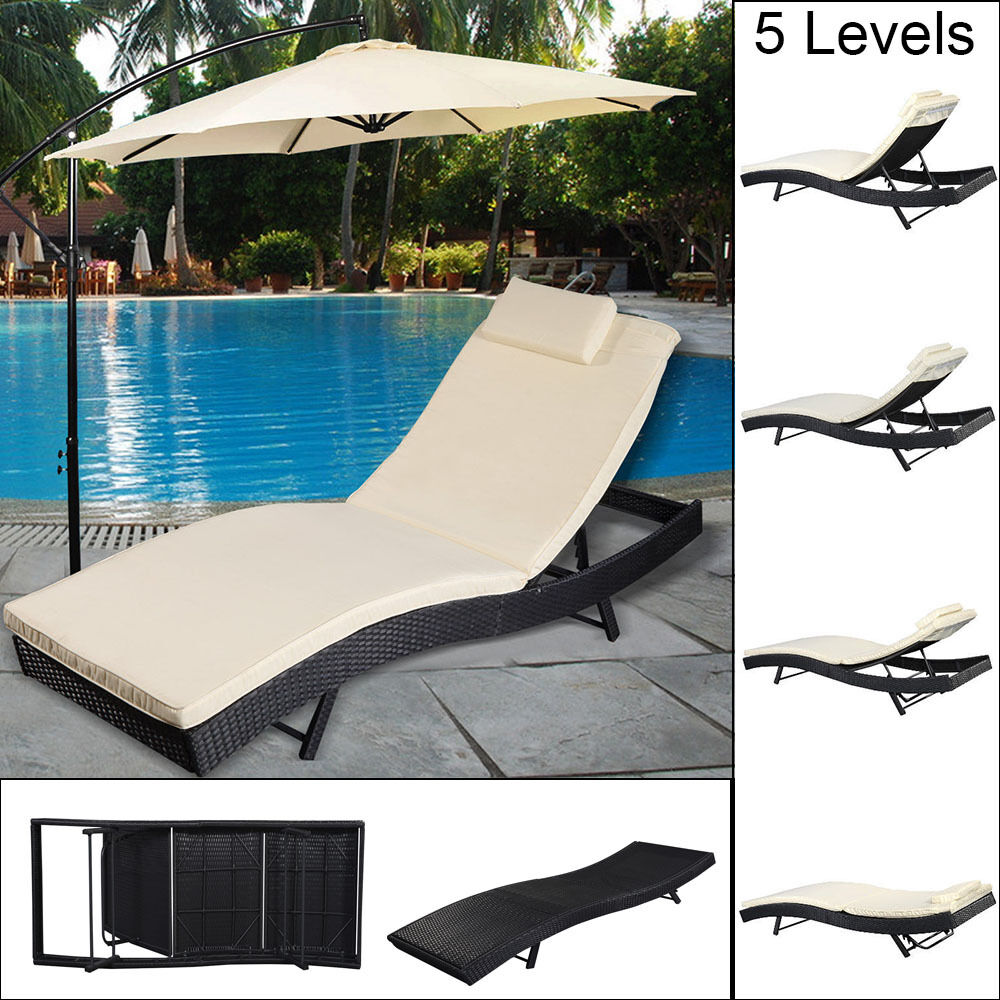collection rattan lounger recliner day chair sun bed garden furniture