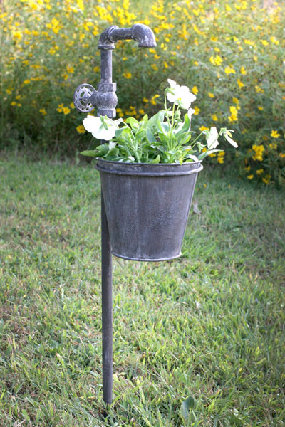 Creative Faucet Metal Garden Stake With Planter Outdoor Decor Medium