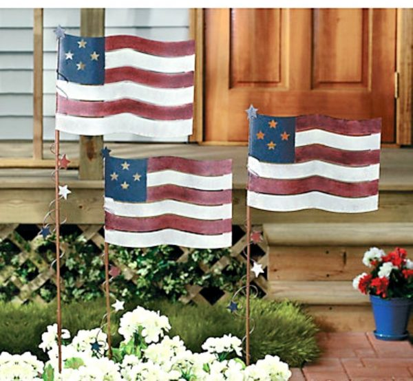 Creative Set Of 3 Metal Flag Yard Garden Stakes Americana Patriotic Medium